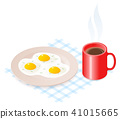 Plate with scrambled eggs and coffee 41015665