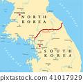 Korean peninsula, demilitarized zone, map 41017929