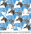 Zebra hand drawn pattern. Black and blue objects  41020695