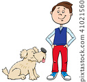 boy, dog, cartoon 41021560