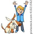 happy boy with dog cartoon illustration 41021562