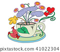 A tea Cup with fairy flowers growing out of it 41022304