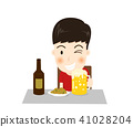 Cartoon a happy man character drinks beer  41028204