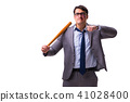 Businessman with baseball bat isolated on white 41028400