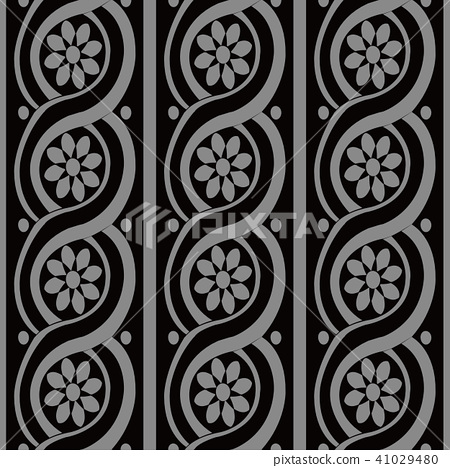 Antique silver seamless retro pattern background 41029480