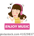 cartoon girl listening music on headphones 41029837