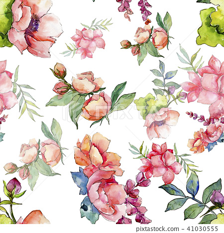 Pink Bouquet Wildflower Seamless Background Stock