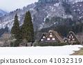 기후 시라카와 고 萩町 갓 쇼즈 쿠리 마을 세 오두막 41032319