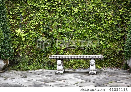 Bench in garden backyard, garden decoration 41033118