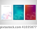 Cover or brochure design with medical background. Molecular structure and hexagons. 41035877