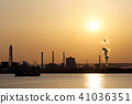 공업 지대 석양 바다 41036351