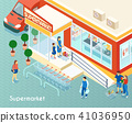 Supermarket Outdoor Isometric Background 41036950