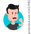 Young sick man cough. Sore throat. Vector  41037985