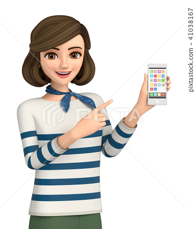 3D illustration - a woman's clothes woman is operating a smartphone 41038167