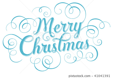 Merry Christmas Writing Clipart.Blue Lettering Merry Christmas For Greeting Stock