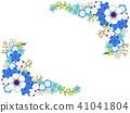 銀蓮花屬和藍色花框架 41041804