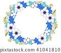 銀蓮花屬和藍色花框架 41041810