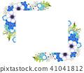 銀蓮花屬和藍色花框架 41041812