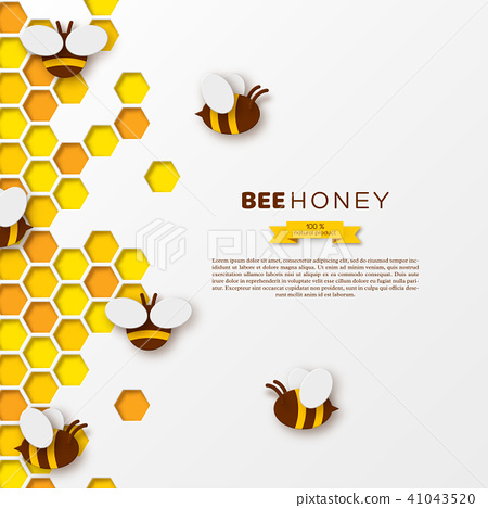 Bee with honeycombs, paper cut ctyle  Template design for