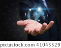 Businessman holding global network. Social media  41045529