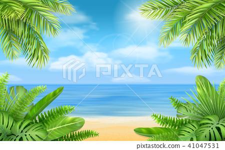 sea beach and tropical bushes 41047531