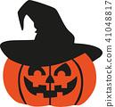 Halloween pumpkin with witch hat 41048817