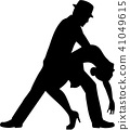 Salsa dancing couple silhouette 41049615