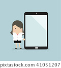 Businesswoman presentation on tablet or smartphone 41051207