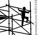 Scaffolder on the frame silhouette 41051419