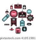 label, icons, set 41051981