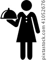 Waitress pictogram with plate 41052676