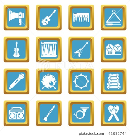 Musical instruments icons set sapphirine square vector 41052744