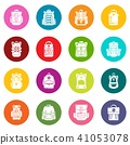 Backpack icons set colorful circles vector 41053078