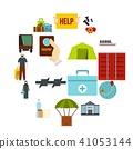 Refugees problem set flat icons 41053144