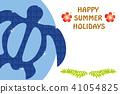 Honu·海龜圖案|炎熱的夏天明信片設計|以海龜為主題的設計|夏天圖像 41054825