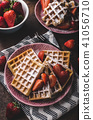 Waffles with berries, strawberries 41056710