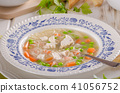 Spring chicken soup noodles, vegetable and toast 41056752