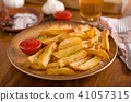 Homemade french fries with organic ketchup 41057315