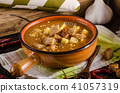 Goulash soup with croutons and potatoes 41057319