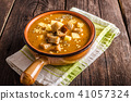 Goulash soup with croutons and potatoes 41057324