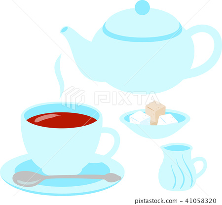 茶和茶壺,糖,牛奶 41058320