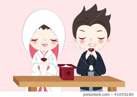cartoon japanese wedding couple 41059280
