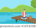 cartoon man fishing 41059288