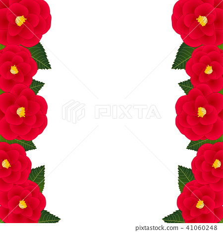 Red Camellia Flower Frame Border.Illustration. 41060248
