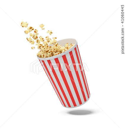 3d rendering of a round striped popcorn bucket hanging in the air with popcorn flying out of it. 41060445