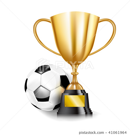 3D Golden trophy cups and Soccer ball 002 41061964