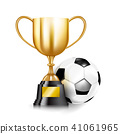 3D Golden trophy cups and Soccer ball 001 41061965