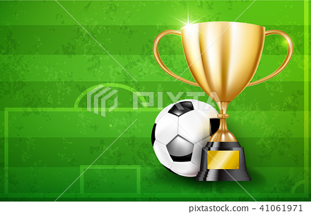 Golden trophy cups and Soccer ball 002 41061971