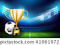 Golden trophy cups and Soccer ball 001 41061972
