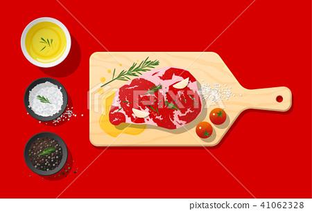 Raw beef steak and seasoning on cutting board 41062328